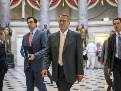 El líder republicano, John Boehner, antes del voto en la Cámara de Representantes para autorizar una demanda contra el presidente Obama