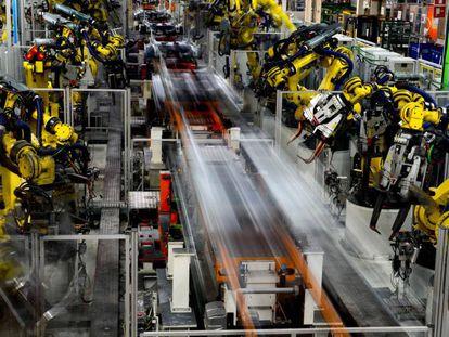 Robots en la planta de Seat de Martorell.