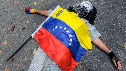 Protesta en las calles de Caracas.