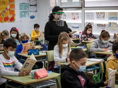 Una clase en un colegio público de Valencia el curso pasado.