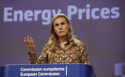 La comisaria europea de Energía, Kadri Simson, durante su comparecencia de este miércoles.
