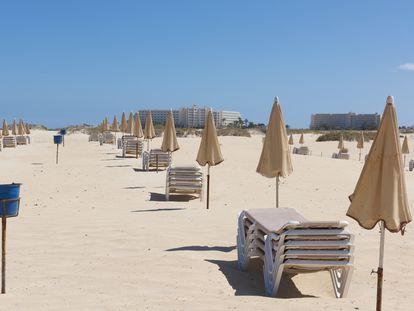 Hamacas vacías en las playas de Corralejo (Fuerteventura), este miércoles.