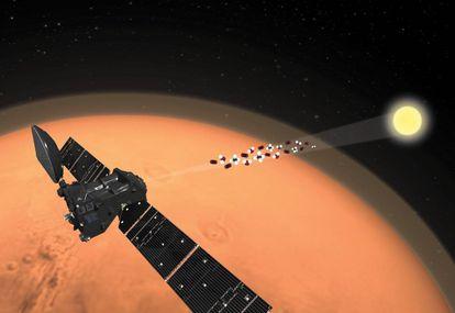 Recreación del cambio de orientación del NOMAD que ha permitido la detección del rastro de oxígeno en la atmósfera de Marte.