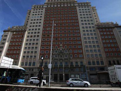 Fachada del Edificio España en Madrid.