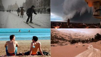 En lo que va de temporada, se han sucedido fenómenos raros y extremos, desde la gran nevada del siglo a tormentas en el interior, 30º en Alicante y lluvia de barro en los Pirineos. SAMUEL SÁNCHEZ / ANNA OLIVA / KAI FÖRSTERLING (EFE) / JORGE MAYORAL