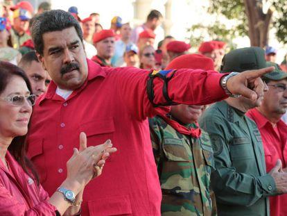 El presidente venezolano Nicolás Maduro durante la ceremonia de  conmemoración del 25 aniversario del fallido golpe de Estado en Maracay.