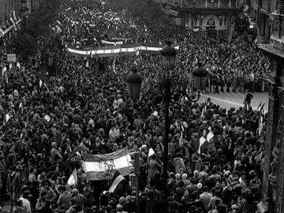 Manifestación el 4 de septiembre de 1977 exigiendo la autonomía de Andalucía, en Sevilla.