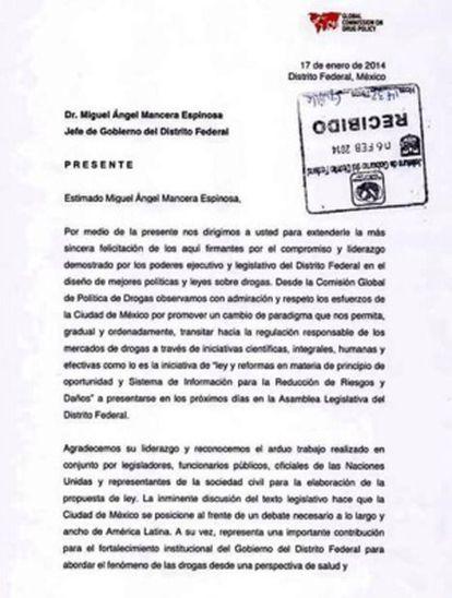 Carta de los expresidentes enviada a Mancera