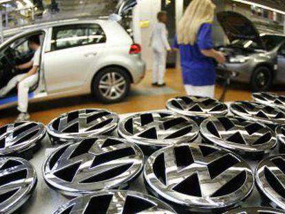 Cadena de montaje de la fábrica de Volkswagen en Wolfsburgo.
