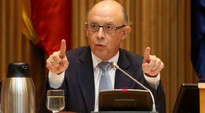 Cristobal Montoro, ministro de Hacienda, en la presentación de los Presupuestos.