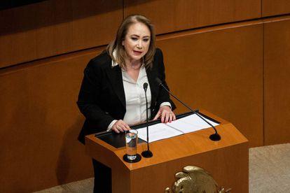La nueva ministra Yasmín Esquivel, en su intervención en el Senado.