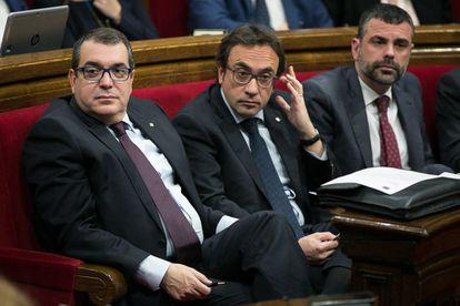 El consejero Jordi Jané, junto a Josep Rull y Santi Vila.