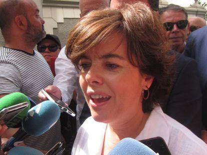 La candidata a la presidencia del PP Soraya Sáenz de Santamaría este jueves en un acto de campaña en Tenerife.