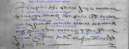 El documento en el que aparece el nombre de Cabrillo, con la transcripción.