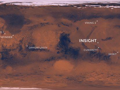 Visión panorámica de Marte con las sondas de la Nasa y, destacada, la InSight, encargada de estudiar el interior del planeta.