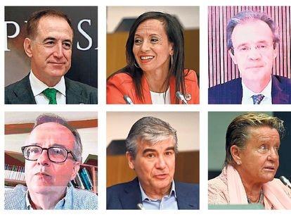 Presidentes de BBVA (C. Torres), Mapfre (A. Huertas), REE (B. Corredor), CaixaBank (J. Gual), Iberia (L. Gallego), Enagás (A. Llardén), Barceló (S. P. Barceló), Naturgy (F. Reynés), Eulen (M. J. Álvarez) y Sacyr (M. Manrique).