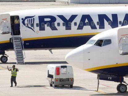 Aviones de Ryanair, en una imagen de archivo.