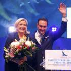 France's far right National Front political party leader Le Pen and Austrian far right FPOe leader Strache attend a meeting in Vienna