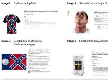 Captura de pantalla del informe que critica los productos que incitan al odio en Amazon.