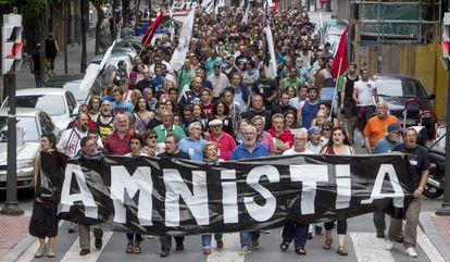 Manifestación por la amnistía de presos etarras, el 29 de agosto de 2015.