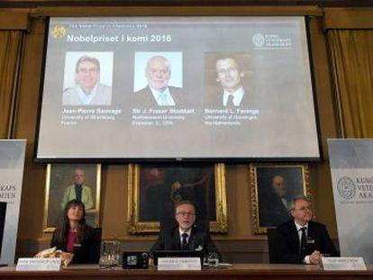Jean-Pierre Sauvage, Fraser Stoddart y Bernard Feringa reciben el galardón por diseñar moléculas controlables