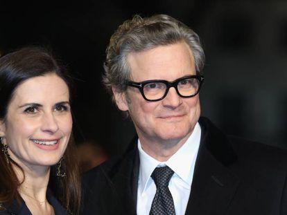 Colin Firth y su mujer, Livia Giuggioli, el pasado 6 de febrero en Londres.