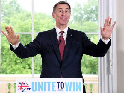 El ministro de Exteriores británico, Jeremy Hunt, este lunes en Londres, durante la presentación de su campaña para liderar el Partido Conservador.