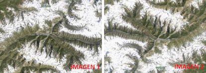 En la Imagen 1 la nieve parece evitar las cumbres de Peak Agasis (Tayikistán). En la Imagen 2, invertida, la nieve está sobre las montañas.