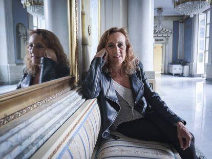 Carme Portaceli, directora del Teatro Español, ayer, tras leer su carta de despedida.