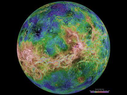 Una vista de Venus al radar tomada por la misión 'Magallanes', en 1998.
