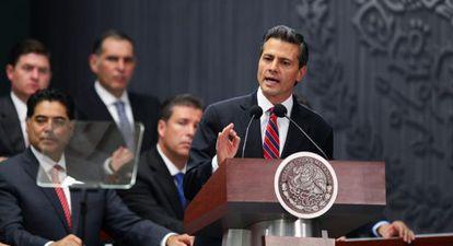 Peña Nieto este domingo en la presentación de la reforma fiscal.