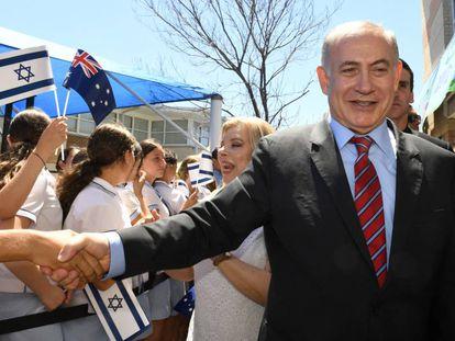 El primer ministro israelí, Benjamín Netanyahu, y su esposa, Sara, en una visita oficial a Australia. I