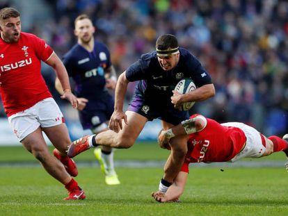 Una acción del partido Escocia-Gales.