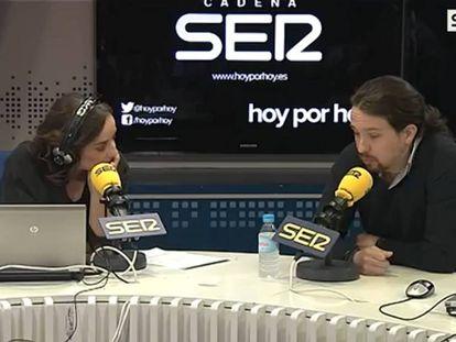 Imagen de Pepa Bueno entrevistando a Pablo Iglesias en el programa 'Hoy por Hoy' de Cadena Ser.