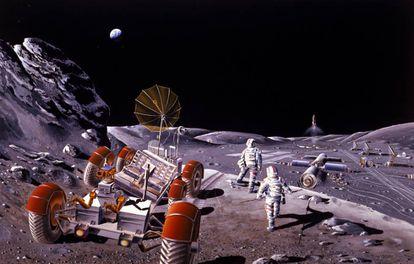 Recreación de una base lunar realizada por la agencia espacial norteamericana.