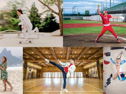 De arriba a abajo y de izquierda a derecha, los deportistas olímpicos Alexis Sablone, Yukiko Ueno, Silvana Lima, Damián Quintero, y Julia Chanourdie.