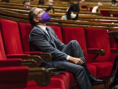 El conseller de Economía y Hacienda, Jaume Giró, durante el pleno del Parlament el pasado 22 de julio de 2021.