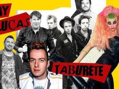 Andy y Lucas y Willy Bárcenas compartiendo iconografía punk con Joe Strummer y sus Clash y Nina Hagen.
