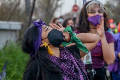 Una mujer grita durante una marcha celebrada en Madrid el pasado año.