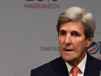 John Kerry este miércoles en la Cumbre del Clima de Marrakech.