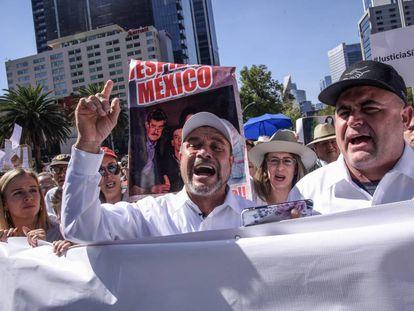 Manifestación el pasado diciembre por la matanza de los LeBarón.