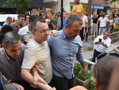 El pastor Andrew Brunson en Turquía el 25 de julio.
