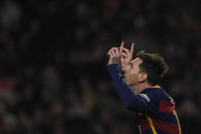 Messi celebra su gol ante el Athletic.