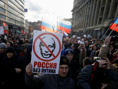 Manifestación el pasado febrero en Moscú por el quinto aniversario del asesinato del opositor liberal Boris Nemtsov.