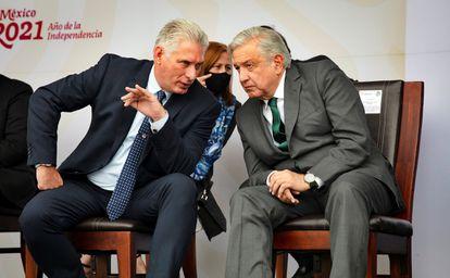 El presidente de Cuba, Miguel Díaz-Canel, y el de México, Andrés Manuel López Obrador, este jueves.