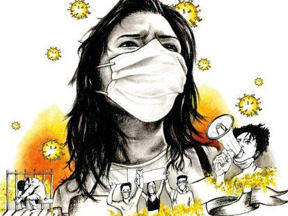 Ilustraciones creadas para el nuevo informe de Amnistía Internacional titulado 'Atreverse a defender los derechos humanos durante una pandemia'.