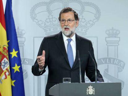 Mariano Rajoy, durante una comparecencia.