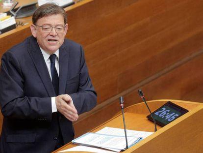 El presidente de la Generalitat en funciones, Ximo Puig, interviene en el pleno de investidura este jueves. En vídeo, declaraciones de Toni Cantó.