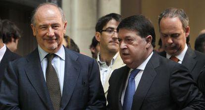 Rodrigo Rato, expresidente de Bankia, junto al exvicepresidente de Bancaja, José Luis Olivas