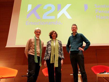 Koldo Saratxaga, Ana Moreno y Fred Laloux en el Euskalduna de Bilbao en 2019.